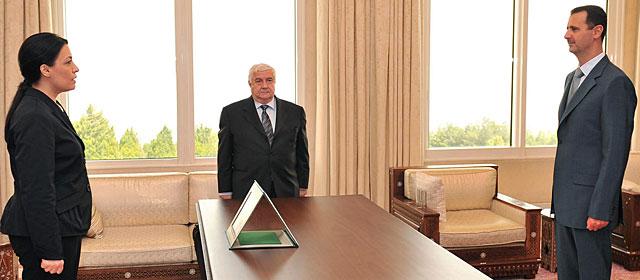 Shakkour y Asad (d), en Damasco en 2008 tras el nombramiento de la embajadora. | AP