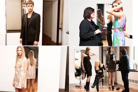 Cuatro imágenes de Donatella Versace trabajando para la colección de H&M publicadas por la compañía sueca.
