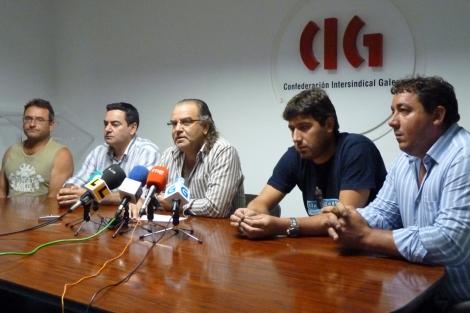 Eduardo Rodríguez, Fernando González, Xoán Melón (CIG), Carlos Estévez y José Carballo. | CIG