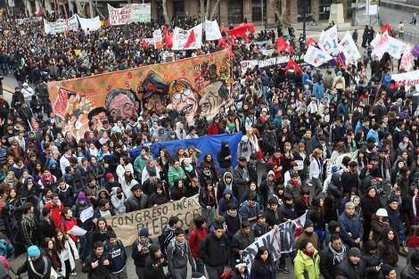 Manifestación contra el alto precio de la educación en Chile celebrada el 30 de junio. | Efe