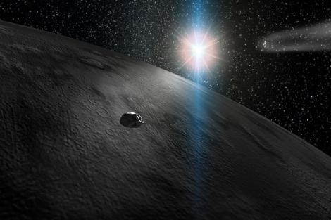 Recreación de un asteroide a punto de impactar con la Tierra.|CAB