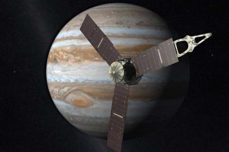 Recreación de la nave Juno junto al planeta Júpiter. | JPL/NASA