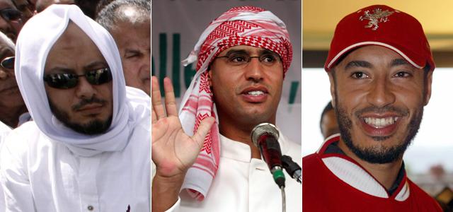 Mohammed (izquierda), Saif al Islam (centro) y Saadi (derecha). | Afp | Efe | Reuters