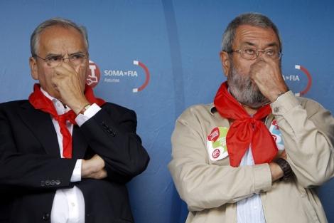 Cándido Méndez y Alfonso Guerra, hoy, en Rodiezmo.   Alberto di Lolli