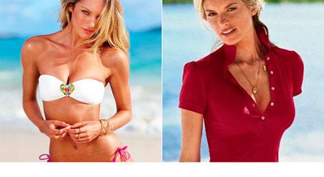 Campañas de Victoria's Secret: cintura de 'avispa' de Candice Swanepoel y el brazo inexistente de Marisa Miller.