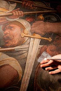 Una sonda a través del fresco de Vasari.