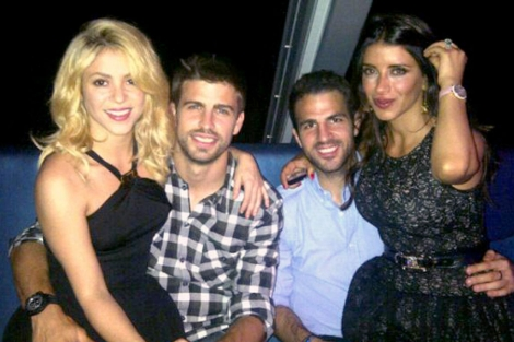 Shakira, Piqué, Cesc Fábregas y su novia libanesa