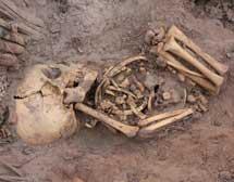 Uno de los esqueletos de Pachacamac.|ULB