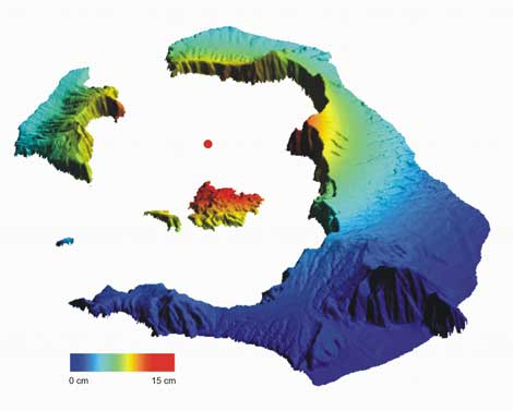 Mapa de Santorini. En rojo, las zonas que más cambios experimentaron. | ESA