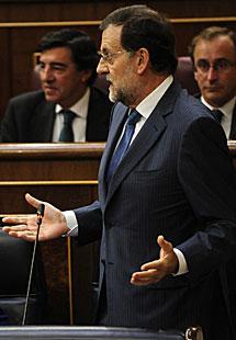 Rajoy, ayer en el Congreso.   B. Díaz
