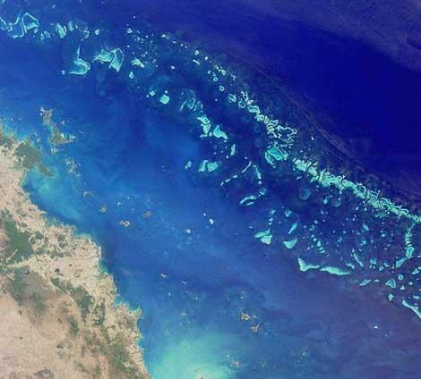 La Gran Barrera de Coral, vista desde el espacio. | NASA