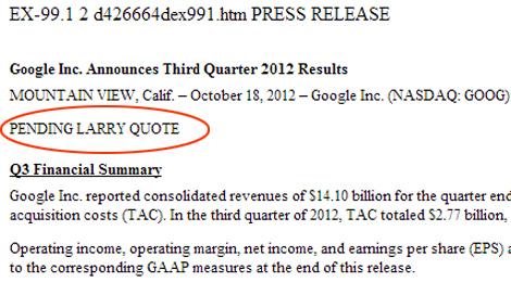 Documento en el que Google señala que falta introducir una cita de su consejero delegado.