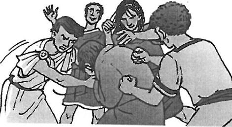 Los jóvenes paganos golpeando a Tarsicio.