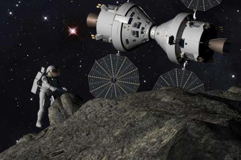 Recreación artística de una misión en un asteroide.| Lockheed Martin