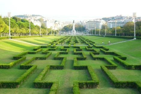 Vista del jardín del Parque de Eduardo VII (en el centro de Lisboa), obra del arquitecto.