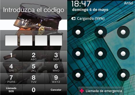 Contraseña de iPhone y patrón en Android.