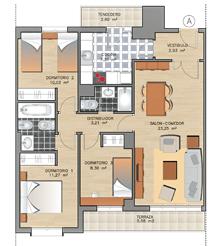 Plano de las viviendas de tres dormitorios.