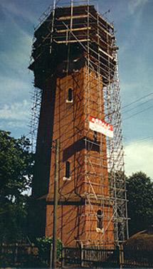 La torre de Munstead en obras.
