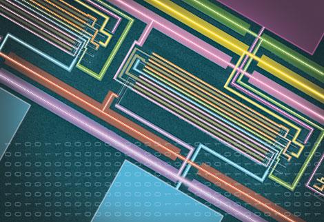 Imagen de microscopio de una sección del ordenador de nanotubos.| B. Colyear