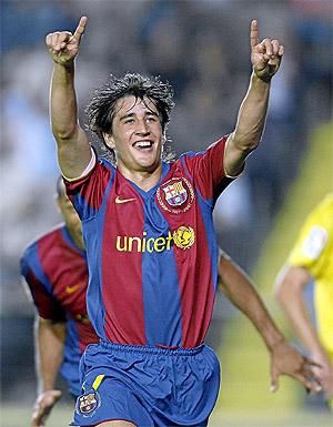 Bojan celebra un gol con el Barcelona. (Foto: EFE)