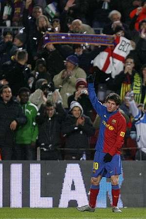 Messi, aclamado el sábado en el Camp Nou. (AP)