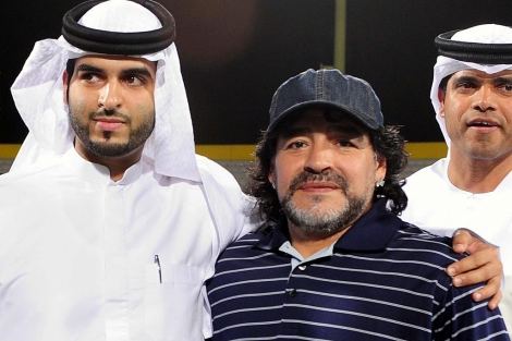 Maradona durante su visita a Dubai. | Foto: Afp