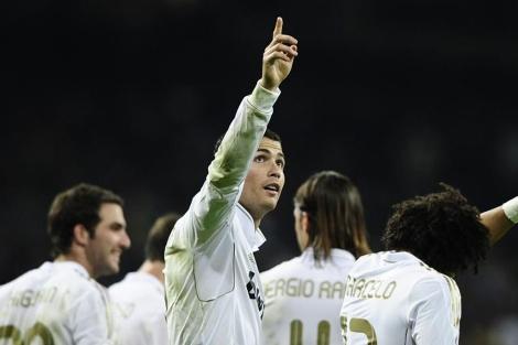 Cristiano celebra uno de sus goles al Atlético. | Foto: Gonzalo Arroyo