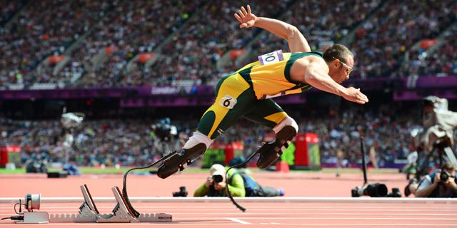 Oscar Pistorius, en su debut en la prueba de 400 m.   Afp
