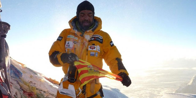 Carlos Pauner durante su ascensión al Everest