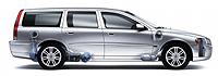 El Volvo V70 es capaz de funcionar indistintamente con gasolina y gas metano.