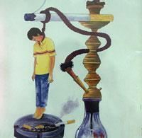 Imagen de un cartel contra el tabaco situado en el hospital Shifa de Gaza (Foto: Laurent Rebours | AP)