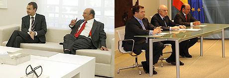 Cambio de escenario y actitud entre la anterior reunión -izda- y la de hoy.