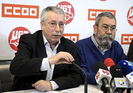 , Ignacio Fernández y Cándido Méndez, secretarios generales de CCOO y UGT