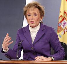La vicepresidenta, Mª Teresa Fdez. de la Vega, tras el Consejo de Ministros. | Efe