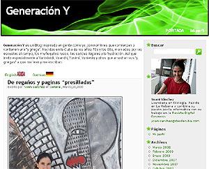 Pantalla principal del blog cubano 'Generación Y'.