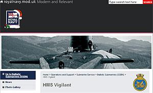 Pantalla del sitio web del HMS Vigilant.