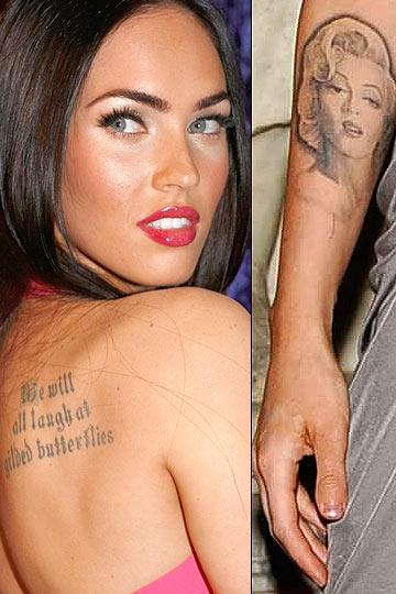 tatuaje de megan fox. Megan Fox. La actriz enseña orgullosa el tatuaje de su hombro.
