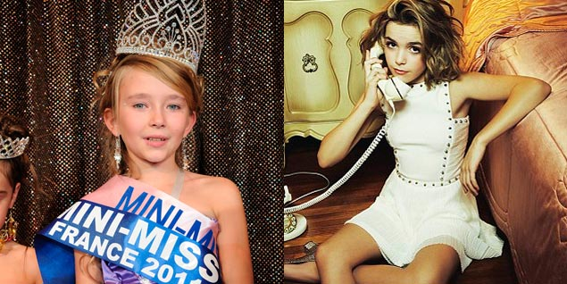 A la izquierda, la ganadora de la edición 2011 del concurso Mini-Miss France; a la derecha, reportaje de una revista italiana protagonizado por una modelo de 12 años. (Fotos: Gtresonine/YO DONA).