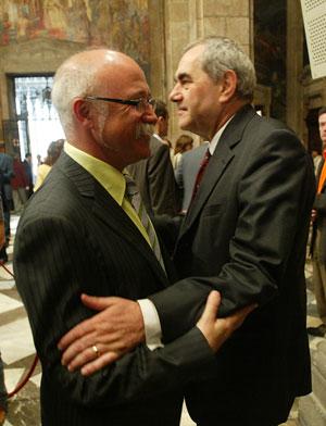 Apel·les Carod-Rovira, junto a Ernest Maragall. (Foto: Quique García)