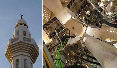Interior de la torre, en donde se aprecian las antenas.