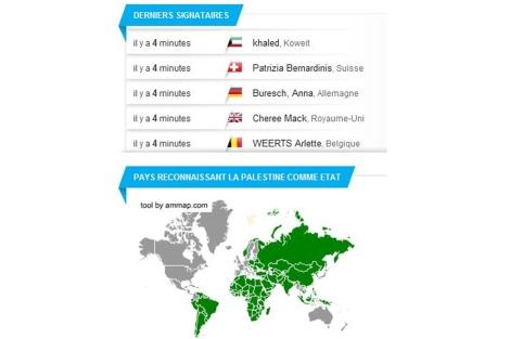 Participantes y un mapa de los países que reconocen Palestina en la web www.avaaz.org