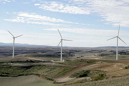 On shore wind farm in Burgos, Spain